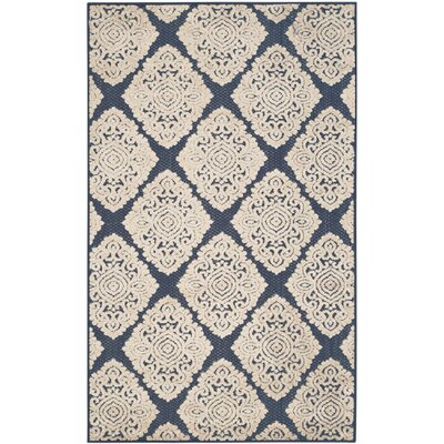 Ellesmere Port Cream/Navy Blue Indoor/Outdoor Area Rug