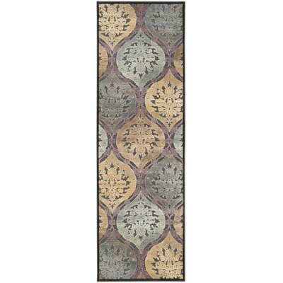 Burnham-on-Crouch Black/Gray/Yellow Area Rug Rug Size: Runner 25 x 76