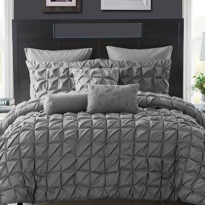 Gilbert Comforter Set Color: Navy, Size: Queen