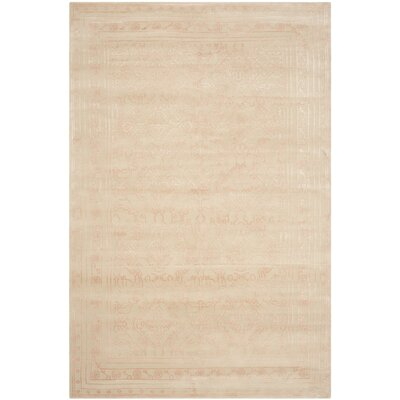 Exmouth Hand-Knotted Cream/Pink Area Rug Rug Size: 6 x 9