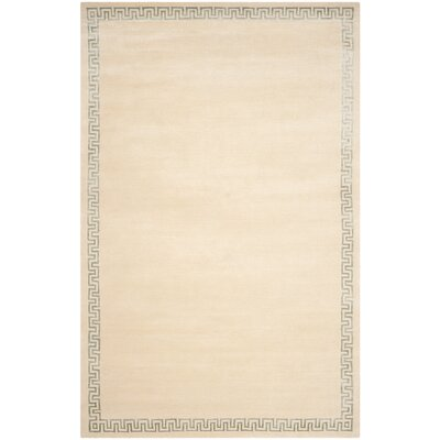Exmouth Hand-Knotted Beige Area Rug Rug Size: Rectangle 8' x 10'