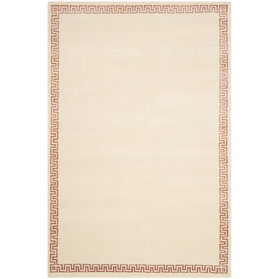 Exmouth Hand-Knotted Cream Area Rug Rug Size: 6 x 9