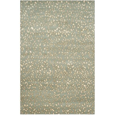 Exmouth Hand-Knotted Aqua/Cream Area Rug Rug Size: 6 x 9