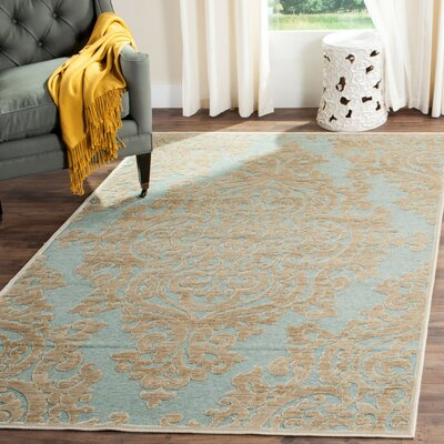Mitchum Beige / Blue Area Rug Rug Size: Rectangle 33 x 47