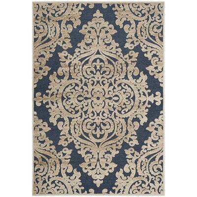 Mitchum Stone/Navy Area Rug Rug Size: Rectangle 76 x 106