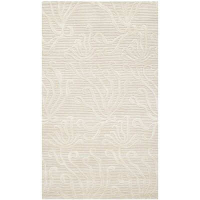 Martha Stewart Seaflora Hand-Woven Silk Pearl Area Rug Rug Size: Rectangle 26 x 43