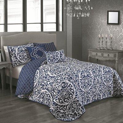 Rupert 5 Piece Reversible Quilt Set Color: Blue, Size: Queen