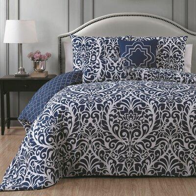 Rupert 5 Piece Comforter Set Size: King, Color: Blue