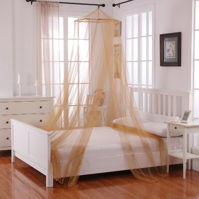 Elize Oasis Round Hoop Sheer Bed Canopy Net Color: Gold
