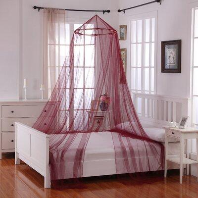 Elize Oasis Round Hoop Sheer Bed Canopy Net Color: Burgundy