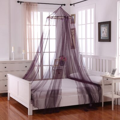 Laurencho Round Hoop Sheer Bed Canopy Net Color: Purple