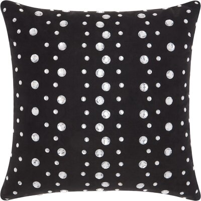 Sharonda Modern Polka Dots Throw Pillow Color: Black