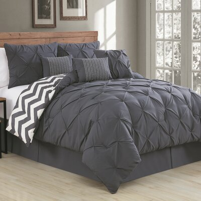 Germain Comforter Set Size: King, Color: Charcoal