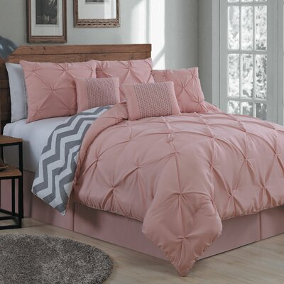 Germain 7 Piece Reversible Comforter Set Size: Queen, Color: Blush