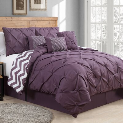 Germain Comforter Set Color: Plum, Size: Queen