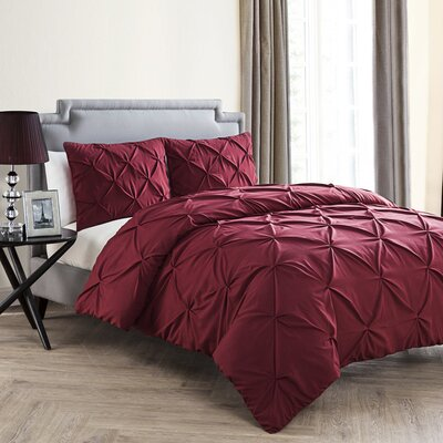 Uma Duvet Set Color: Burgundy, Size: King