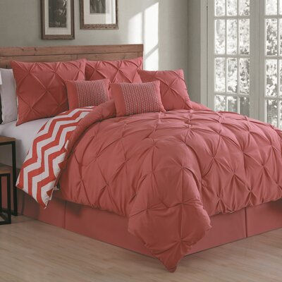 Germain Comforter Set Size: Queen, Color: Coral