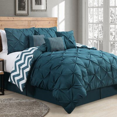 Germain 7 Piece Reversible Comforter Set Color: Teal, Size: Queen