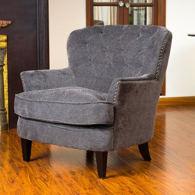 Parmelee Tufted Upholstered Linen Wing back Chair Color: Dark Gray