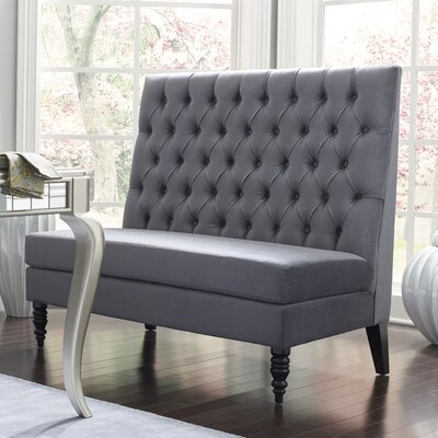 Belle 49.5 Tufted Settee Bedroom Bench Color: Silver