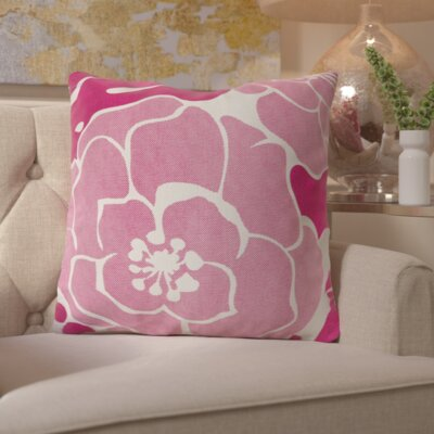 Budleigh Salterton Floral Cotton Throw Pillow Color: Pink, Filler: Down
