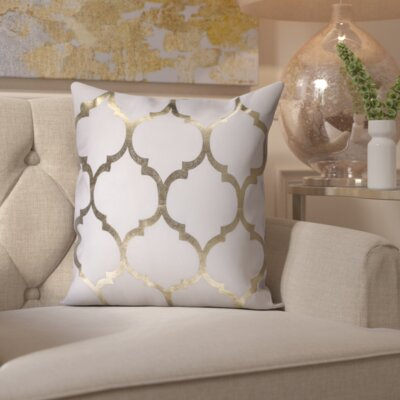 Zellers Indoor/Outdoor Trellis Throw Pillow Color: Ivory
