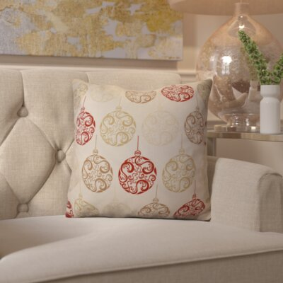 Decorative Holiday Geometric Print Throw Pillow Size: 18 H x 18 W, Color: Red