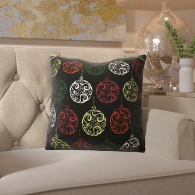 Decorative Holiday Geometric Print Outdoor Throw Pillow Size: 16 H x 16 W, Color: Black