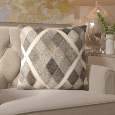 Gertrud Plaid Leather Throw Pillow