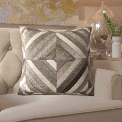 Gertrud Chevron Leather Throw Pillow