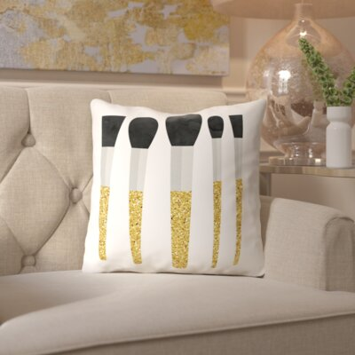 Peach & Gold Pink Makeup Brushes Throw Pillow Size: 20 H x 20 W x 2 D, Color: Gold