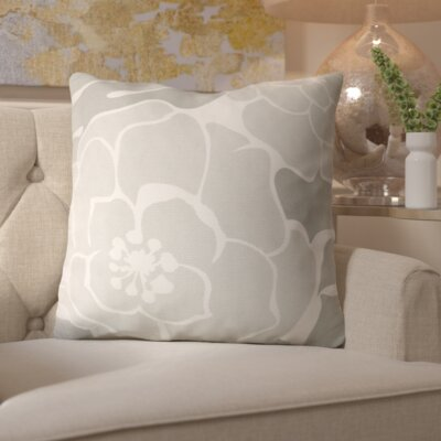 Budleigh Salterton Floral Cotton Throw Pillow Color: Gray, Filler: Down