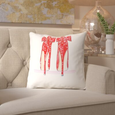 Alison B Red Shoe Throw Pillow Size: 16 H x 16 W x 2 D