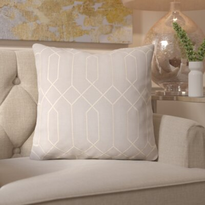 Honiton Linen Throw Pillow Size: 22 H x 22 W x 4 D, Color: Light Gray