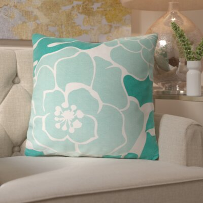Budleigh Salterton Floral Cotton Throw Pillow Color: Blue, Filler: Down
