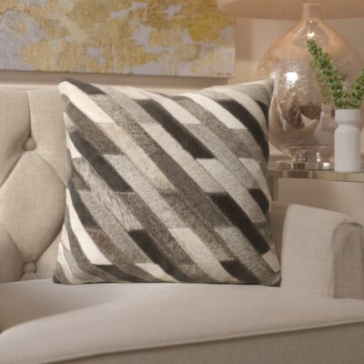 Gertrud Striped Leather Throw Pillow