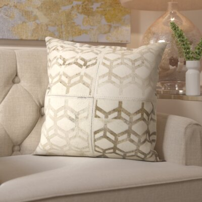 Whitmire Modern Cubes Leather Throw Pillow