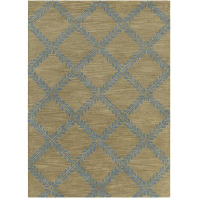 Dollins Hand Tufted Rectangle Contemporary Blue/Tan Area Rug Rug Size: 5 x 7