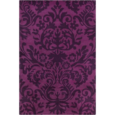 Jethro Hand Tufted Wool Purple Area Rug