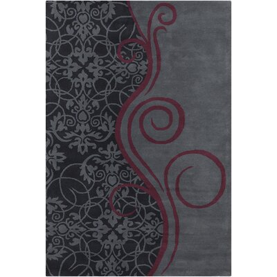 Jethro Hand Tufted Wool Gray/Wine Area Rug