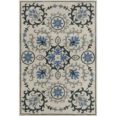 Hennessy Hand Tufted Wool Cream/Blue Area Rug