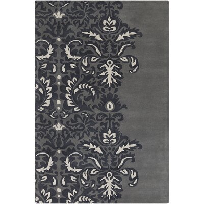 Jethro Hand Tufted Wool Grey/Black Area Rug