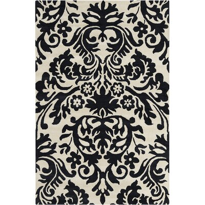 Jethro Hand Tufted Black/Cream Area Rug Rug Size: 5 x 76
