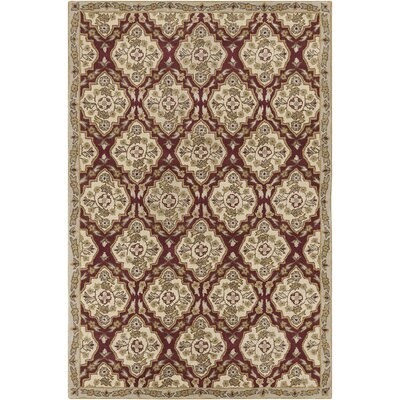 Jethro Hand Tufted Wool Cream/Burgundy Area Rug Rug Size: 5 x 76
