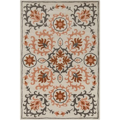 Hennessy Hand Tufted Wool Peach/Cream Area Rug Rug Size: 5 x 76