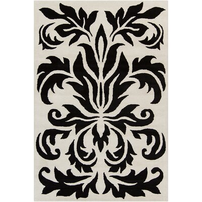 Jethro Hand Tufted Wool White/Black Area Rug Rug Size: 8 x 10