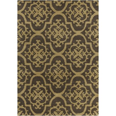 Dollins Hand Tufted Rectangle Contemporary Tan/Brown Area Rug Rug Size: 7 x 10