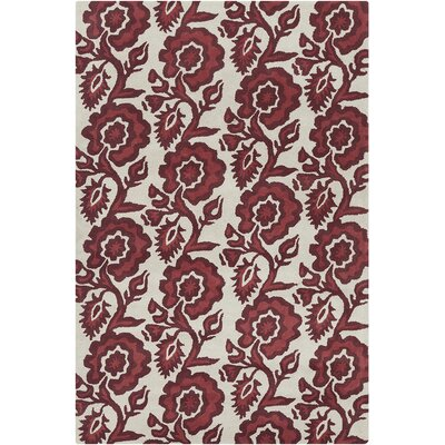 Jethro Hand Tufted Wool White/Burgundy Area Rug Rug Size: 8 x 10