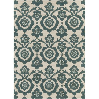 Dollins Hand Tufted Rectangle Contemporary Green/Cream Area Rug Rug Size: 5 x 7