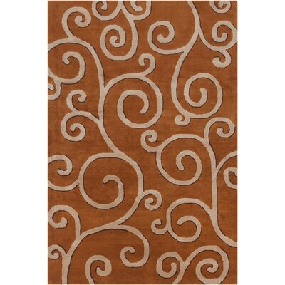 Jethro Hand Tufted Wool Rust/Tan Area Rug Rug Size: 5 x 76